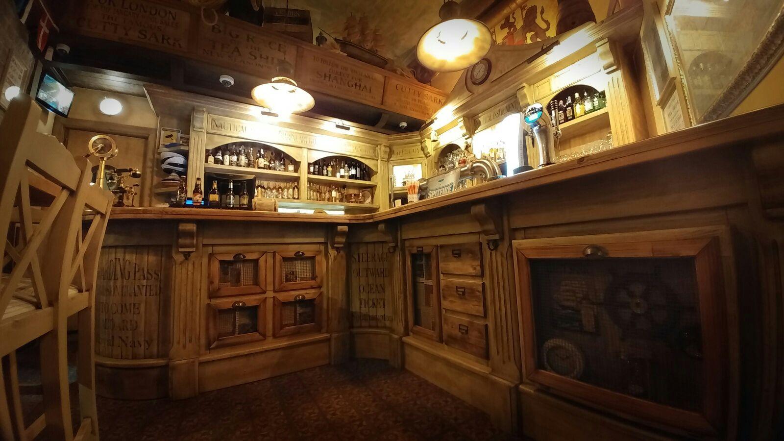 Bancone per pub inglese in massello m l 8 arredamento for Arredamento pub inglese